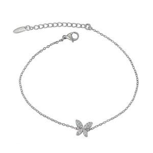 Rhodium Plated Butterfly Bracelet