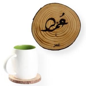 Engraved Name Tree Slice Coaster