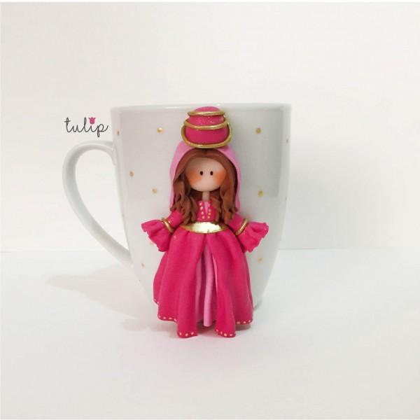 Set of Circassian Style Mugs - Pink & Red