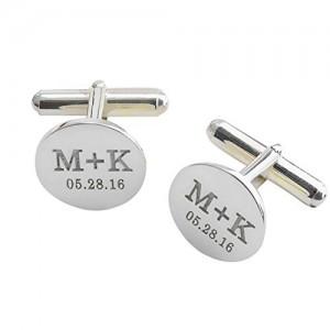 ِEngraved Silver Plated Cufflinks Set