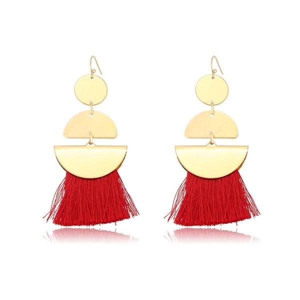 Gold Plated Tassel Earrings - Red