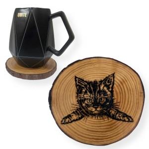 Engraved Cat Tree Slice Coaster