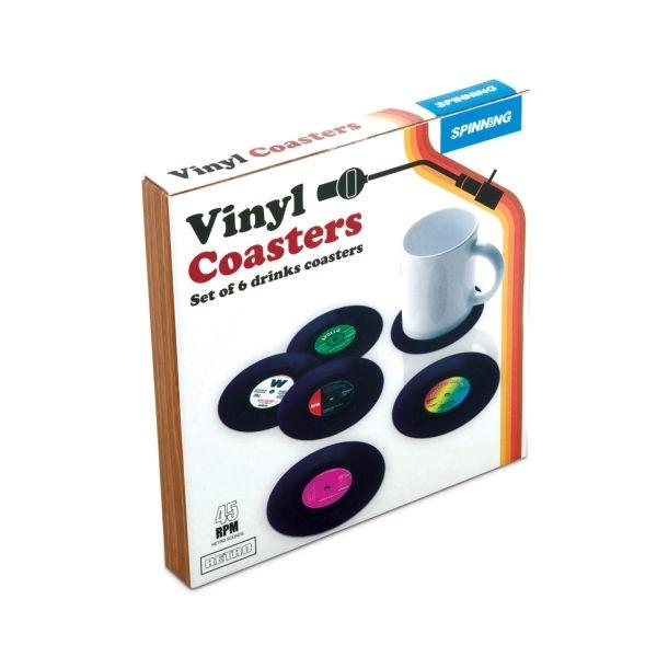 Set of 6 Retro Vinyl Coasters