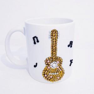Crystals Encrusted Mug - Guitar