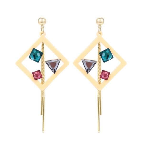 Mutlicolored Crystal Earrings - Beige