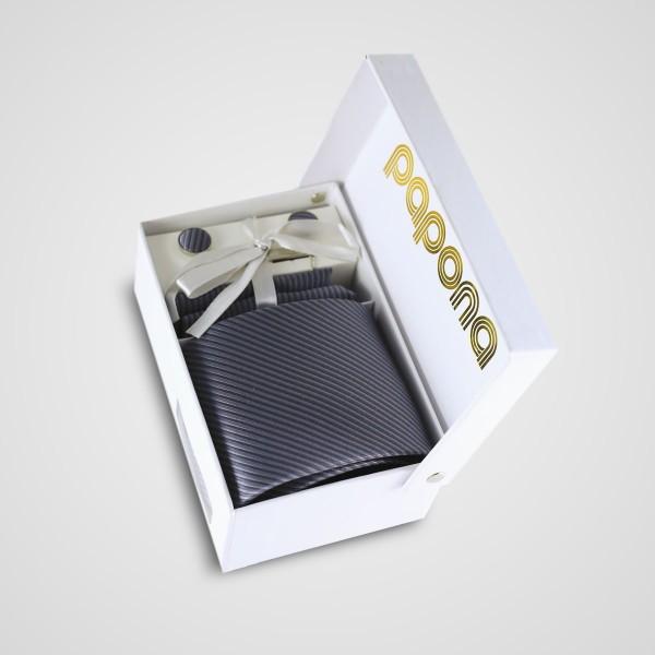 papona Striped Necktie Set - Charcoal