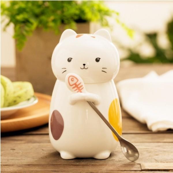 Cat Mug with Spoon-Happy