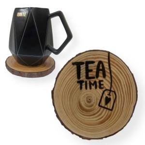 """Engraved """"Tea Time"""" Tree Slice Coaster"""