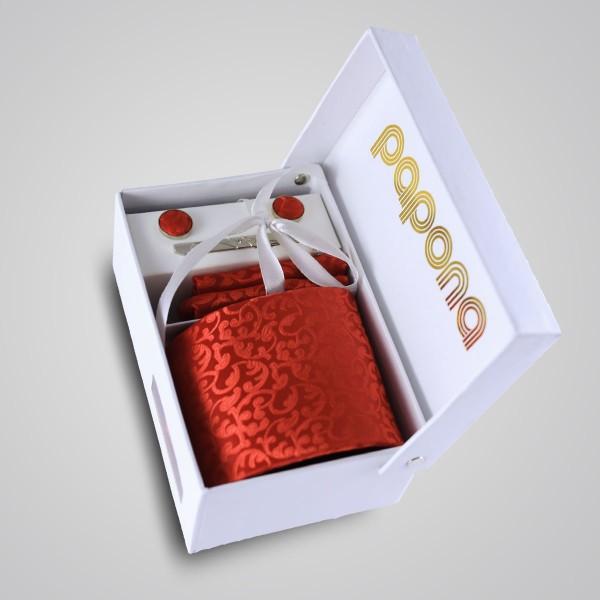 papona Paisley Necktie Set - Red