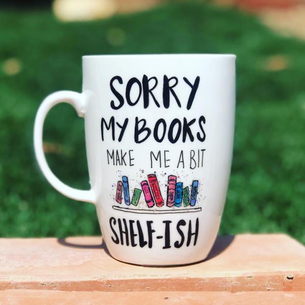 Sorry Books Hand-Painted Mug
