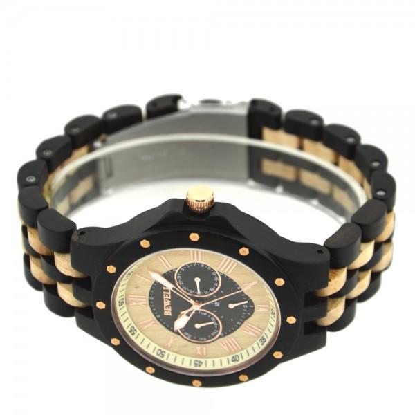 Men's Natural Wood Watch - Black & Beige
