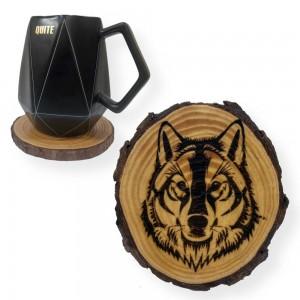 Wolf Engraved Tree Slice Coaster