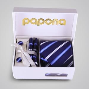 papona Striped Necktie Set - Navy