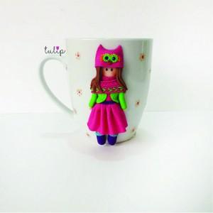 Girl in Owl Hat Mug