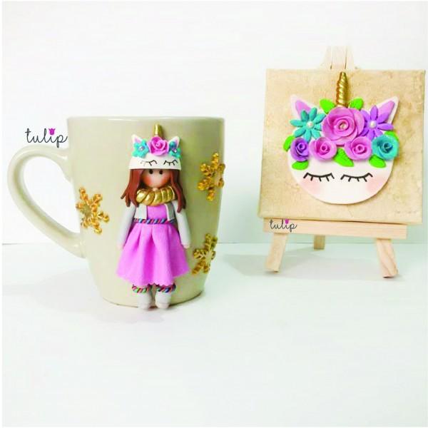 Unicorn & Girl Set of Mug & Canvas Art