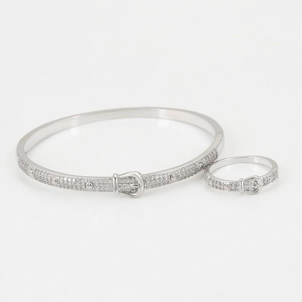 Rhodium Plated Belt Ring & Bangle Set