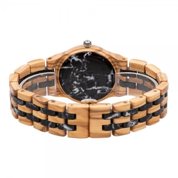 Natural Wood & Marble Watch For Ladies - Beige & Black