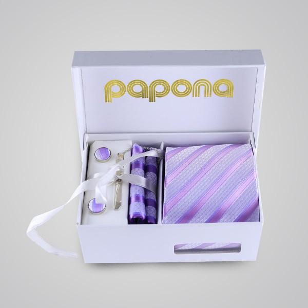 papona Striped Necktie Set - Purple