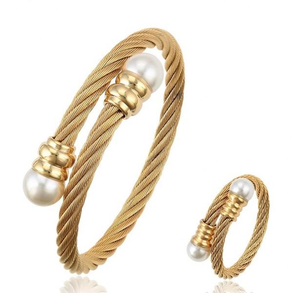 Elegant Twisted Cable Bangle & Ring Set-Gold